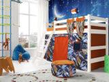 """Детская кровать""""Соня 6″ полувысокая с наклонной лестницей"""